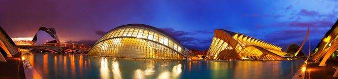Panorama av staden av konster och vetenskaper i Valencia royaltyfri bild