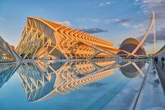 Panorama av staden av konster & vetenskaper som är komplexa i Valencia arkivbilder