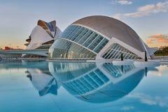 Panorama av staden av konster & vetenskaper som är komplexa i Valencia arkivbild