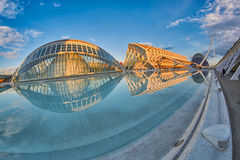 Panorama av staden av konster & vetenskaper som är komplexa i Valencia royaltyfri bild