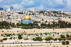 Panorama av staden jerusalem Arkivbild