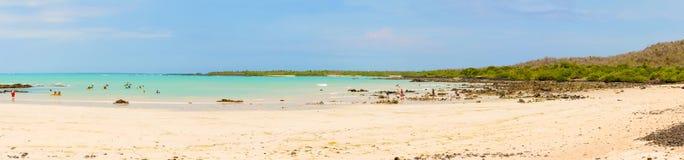Panorama av stranden för El Garrapatero på den Santa Cruz ön i gal. Royaltyfria Bilder