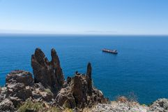 Panorama av stranden Las Teresitas, Tenerife, kanariefågelöar, Spanien arkivbilder