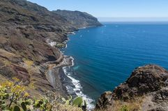 Panorama av stranden Las Teresitas, Tenerife, kanariefågelöar, Spanien arkivbild