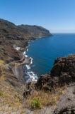 Panorama av stranden Las Teresitas, Tenerife, kanariefågelöar, Spanien royaltyfri foto