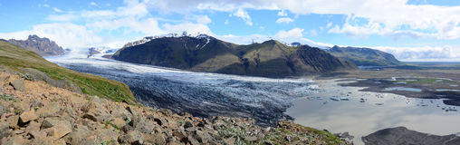 Panorama av Svinafellsjokull Arkivfoto