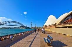 Panorama av Sydney Harbor i en solig dag Arkivfoto