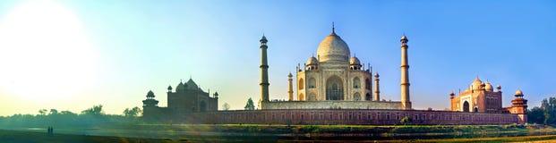 Panorama- av Taj Mahal Agra Arkivfoton