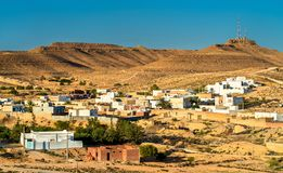 Panorama av Tataouine, en stad i sydliga Tunisien Royaltyfri Fotografi