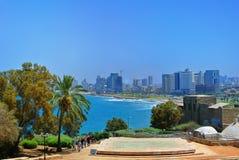 Panorama av Tel Aviv från staden av Jaffa israel 2013 arkivbilder