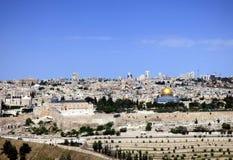 Panorama av tempelmonteringen, Al Aqsa Mosque, den gamla staden och t arkivbilder
