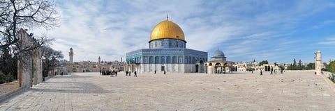 Panorama av tempelmonteringen med kupolen av vaggamoskén, Jerusalem Royaltyfri Bild
