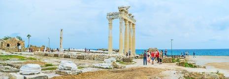 Panorama av templet för Apollo ` s i sida Arkivbild