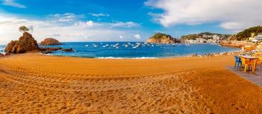 Panorama av Tossa de Mar, Costa Brava, Spanien Royaltyfri Bild