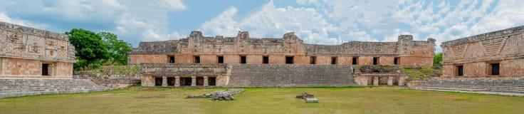 Panorama av tre Maya Temples, i det arkeologiska omr?det av Uxmal arkivbilder