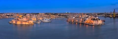 Panorama av tre städer Birgu, Senglea och Cospicua från Uppe royaltyfri foto