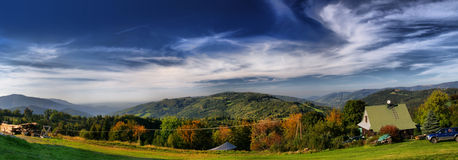 Panorama av Trzy Kopce Arkivfoton