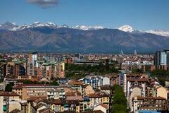 Panorama av Turin, Italien Arkivfoton