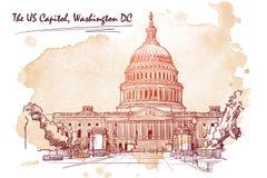 Panorama av USA-Kapitolium Skissa på grungefläck Illustration för vektor EPS10 Royaltyfri Fotografi