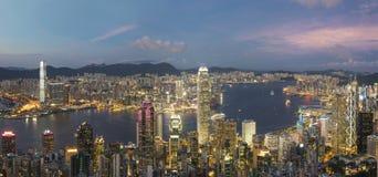 Panorama av Victoria Harbor av den Hong Kong staden Fotografering för Bildbyråer