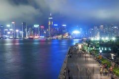 Panorama av Victoria Harbor av den Hong Kong staden Royaltyfri Fotografi