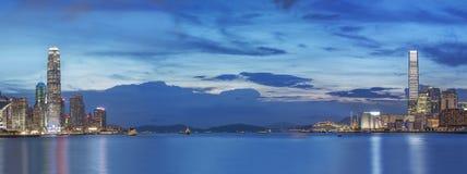 Panorama av Victoria Harbor av den Hong Kong staden Arkivbild