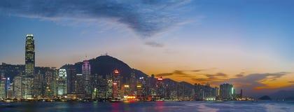 Panorama av Victoria Harbor av den Hong Kong staden Royaltyfria Bilder