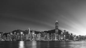 Panorama av Victoria Harbor i den Hong Kong staden Royaltyfria Foton