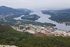 Panorama- av Vila Nova de Cerveira Arkivfoton