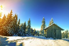 Panorama av vinterberg med hus av herdar Carpathia fotografering för bildbyråer