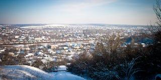 Panorama av vinterstaden Arkivfoton