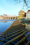 Panorama av Vltava och Hradcany, Prague, Tjeckien Arkivbild