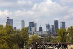 Panorama av Warsaw i Polen Fotografering för Bildbyråer