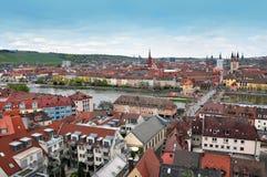 Panorama av Wurzburg den gamla staden Arkivbild