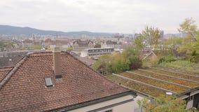 Panorama av Zurich cityscape lager videofilmer