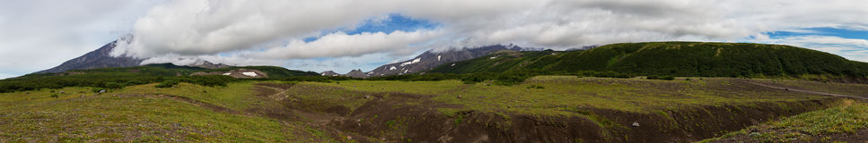 Panorama of Avachinskaya group Volcano on Kamchatka Peninsula Royalty Free Stock Photo