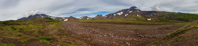 Panorama of Avachinskaya group Volcano on Kamchatka Peninsula Royalty Free Stock Image