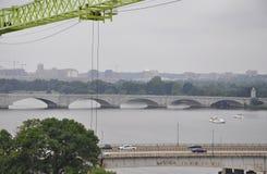 Panorama avec le pont commémoratif d'Arlington de Washington District de Colombie Etats-Unis photographie stock libre de droits