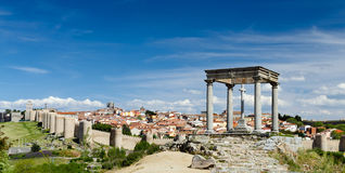 Panorama of Avila. View from Four Posts Point at the City of Avila, Spain Stock Photo