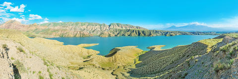 Panorama of Azat Water Preserve. The picturesque indented banks of Azat Reservoir with Ararat Mount on the background, Armenia Stock Photo