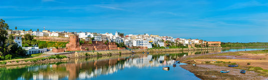 Panorama of Azemmour on the bank of Oum Er-Rbia River in Morocco Royalty Free Stock Images