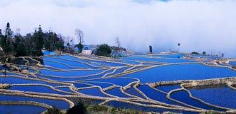 panorama błękitny ryż tarasuje yuanyang Obrazy Royalty Free
