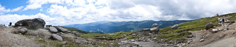 Panorama background in Carpathians. Royalty Free Stock Photo