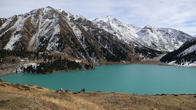 Panorama background of fairy amaizing beautifull nature lake landscape high in the mountains stock video footage