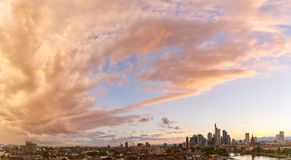 Panorama background with Frankfurt on the Main skyline. Panorama background with Frankfurt on Main skyline in the evening at sunset Royalty Free Stock Photos
