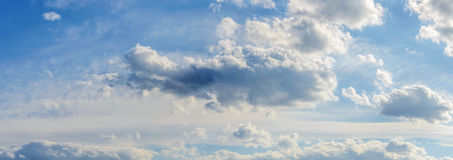 Panorama background sky dramatic clouds. Background, panorama of the sky with dramatic clouds Stock Images