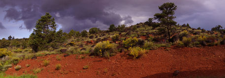 Panorama, Backlit desert landscape Royalty Free Stock Photo