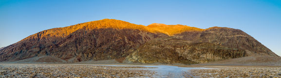 Panorama of Badwater sunset in Death Valley Stock Image