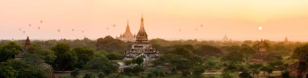 Panorama of Bagan pagoda field Royalty Free Stock Image