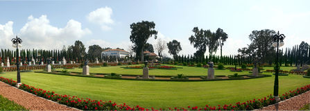 Panorama of Bahai garden in Akko royalty free stock photo